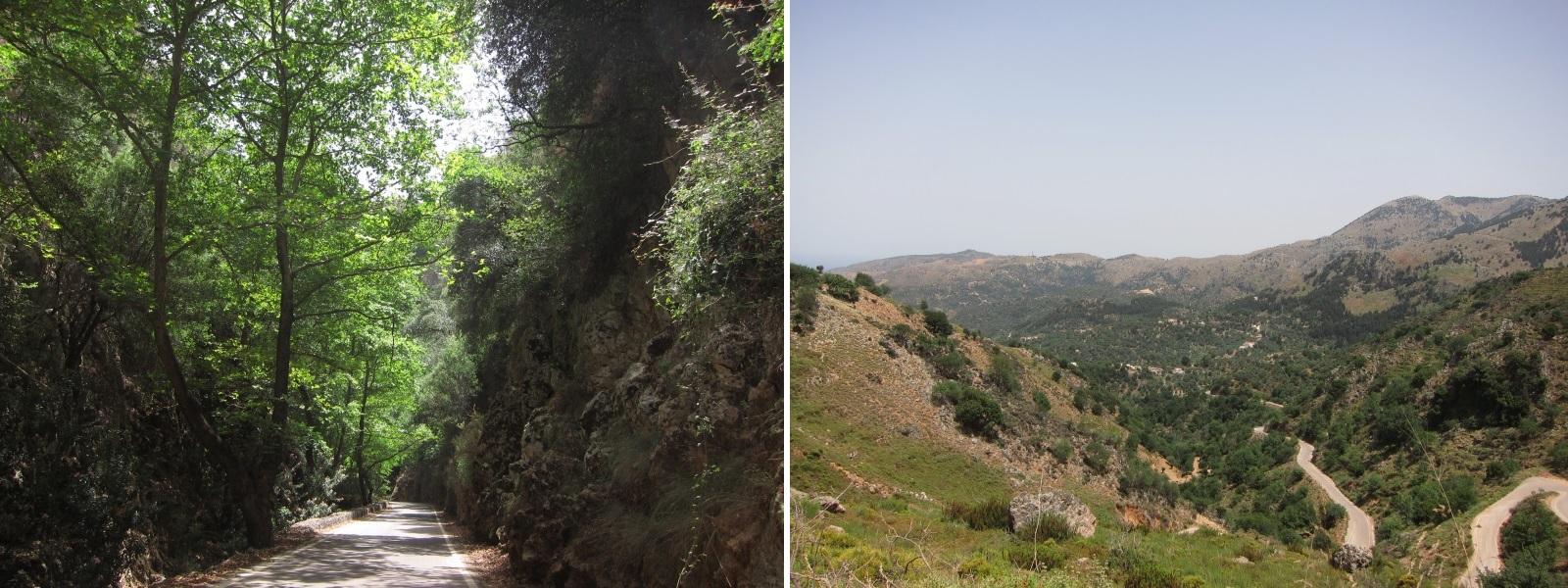 Girit adası Theriso boğazı yollar