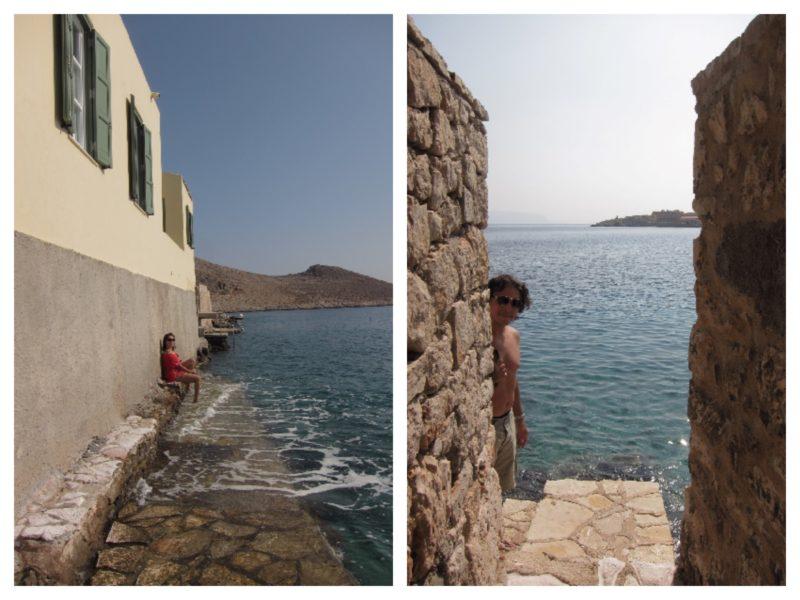 Halki adası deniz duvarlar