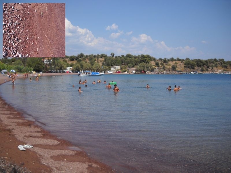 Midilli adası tsonia plaj