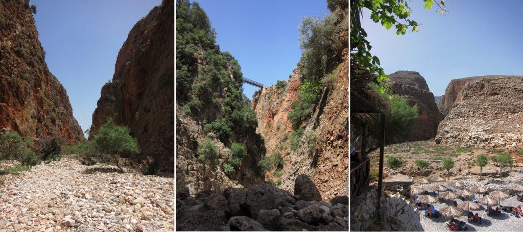 Girit Aradena vadisi, nehir, köprü ve çıkış